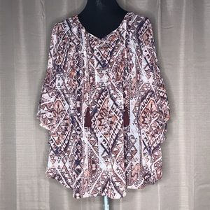 NWT STYLE & CO. BOHO SHEER TASSEL TUNIC TOP 1X